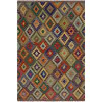 Kilim Almeda Brown/Blue Hand-Woven Wool Rug -4'10 x 6'7 - 4 ft. 10 in. X 6 ft. 7 in.
