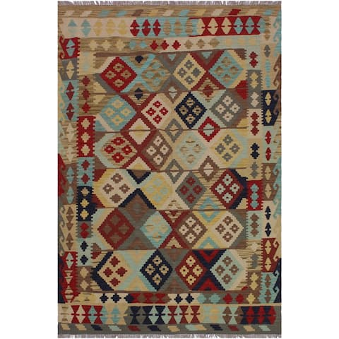 Kilim Bruna Beige/Red Hand-Woven Wool Rug -4'11 x 6'6 - 4 ft. 11 in. X 6 ft. 6 in. - 4 ft. 11 in. X 6 ft. 6 in.
