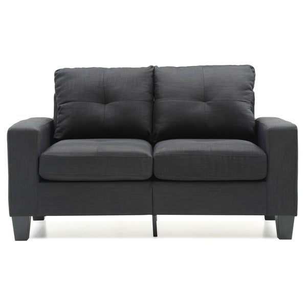 LYKE Home Twill Fabric Black Loveseat