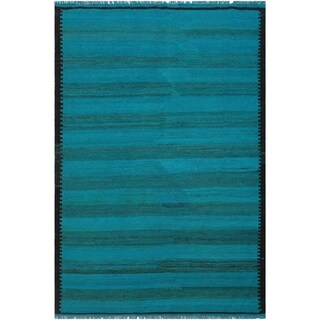Kilim Britney Teal/Brown Hand-Woven Wool Rug -4'11 x 6'5 - 4 ft. 11 in. X 6 ft. 5 in.