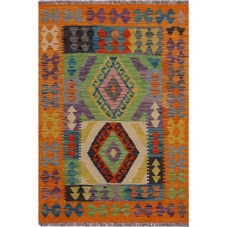 Kilim Alton Orange/Beige Hand-Woven Wool Rug -3'3 x 4'9 - 3 ft. 3 in. X 4 ft. 9 in.
