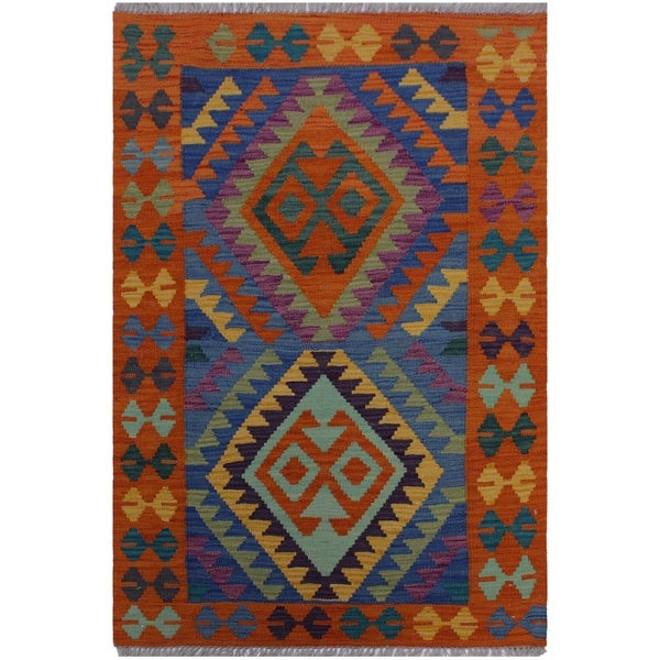 Kilim Argentin Orange/Blue Hand-Woven Wool Rug -2'9 x 4'1 - 2 ft. 9 in. X 4 ft. 1 in.