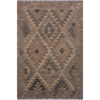 Kilim Brett Gray/Tan Hand-Woven Wool Rug -5'10 x 8'3 - 5 ft. 10 in. X 8 ft. 3 in.