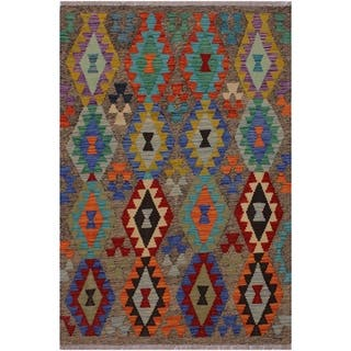 Kilim Bill Brown/Red Hand-Woven Wool Rug -3'7 x 4'9 - 3 ft. 7 in. X 4 ft. 9 in.