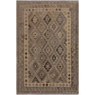 Kilim Babara Gray/Brown Hand-Woven Wool Rug -5'3 x 6'4 - 5 ft. 3 in. X 6 ft. 4 in.