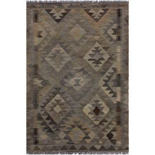 Kilim Angelina Gray/Brown Hand-Woven Wool Rug -2'8 x 3'10 - 2 ft. 8 in. X 3 ft. 10 in.