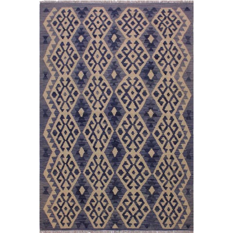 Kilim Angelika Blue/Gray Hand-Woven Wool Rug -4'6 x 6'3 - 4 ft. 6 in. X 6 ft. 3 in.
