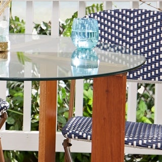 Ludvick Round Tempered Glass Top with Wood Base Dining Table