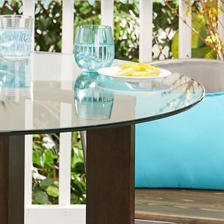 Ludvick Round Tempered Glass Top With Wood Base Dining Table 42 X 42 Espresso On Overstock Com Ibt Shop