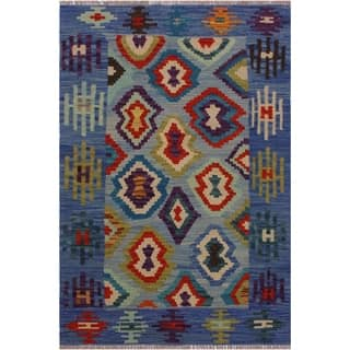 Kilim Becky Blue/Ivory Hand-Woven Wool Rug -2'11 x 4'1 - 2 ft. 11 in. X 4 ft. 1 in.
