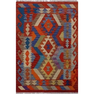 Kilim Bailey Rust/Beige Hand-Woven Wool Rug -2'11 x 3'11 - 2 ft. 11 in. X 3 ft. 11 in.