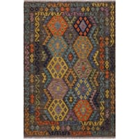 Kilim Alline Brown/Blue Hand-Woven Wool Rug -4'11 x 6'10 - 4 ft. 11 in. X 6 ft. 10 in.
