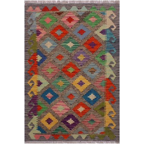 Kilim Barb Drk. Gray/Pink Hand-Woven Wool Rug -2'7 x 4'1 - 2 ft. 7 in. X 4 ft. 1 in. - 2 ft. 7 in. X 4 ft. 1 in.