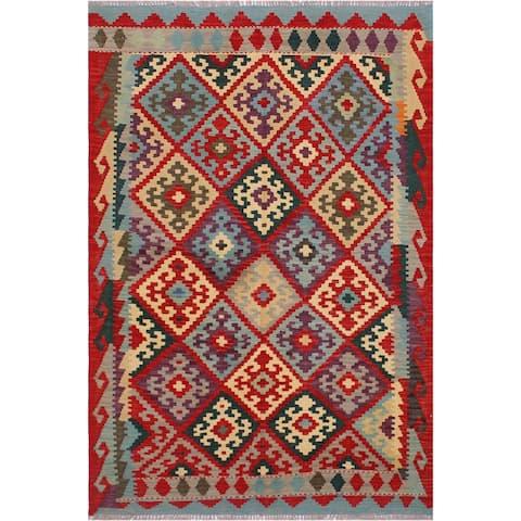 Kilim Carmela Red/Beige Hand-Woven Wool Rug -4'2 x 5'8 - 4 ft. 2 in. X 5 ft. 8 in. - 4 ft. 2 in. X 5 ft. 8 in.