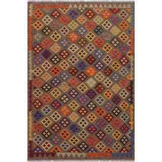Kilim Brain Brown/Tan Hand-Woven Wool Rug -5'0 x 6'5 - 5 ft. 0 in. X 6 ft. 5 in.