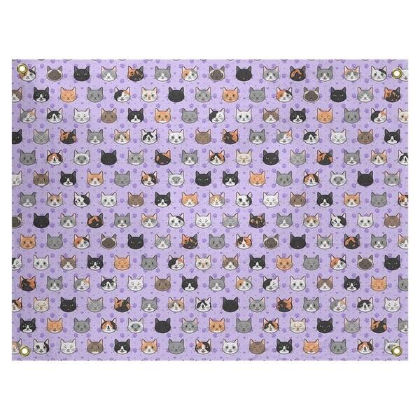 Katelyn Elizabeth Purple Kitty Cat Pattern Tapestry In/Out