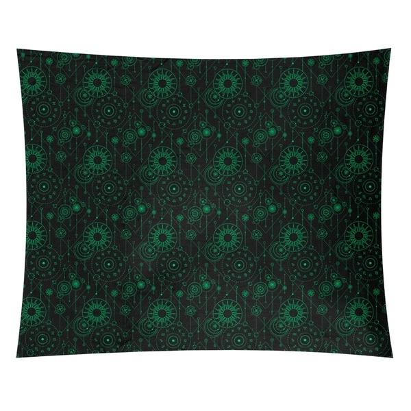 Katelyn Elizabeth Black & Green Astrology Pattern Tapestry