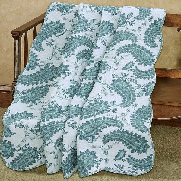 Cozy Line Evelynn Paisley Reversible Cotton Throw Blanket. Opens flyout.