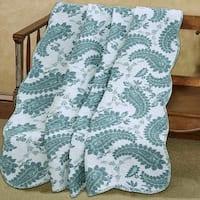 Cozy Line Evelynn Paisley Reversible Cotton Throw Blanket - Blue/White