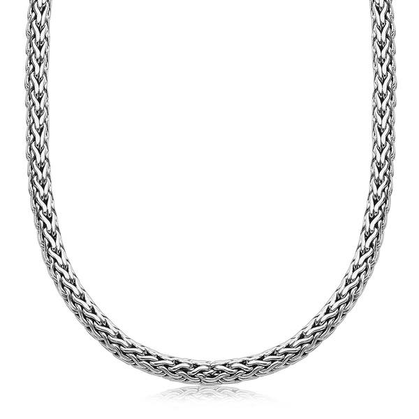 Shop Oxidized Sterling Silver Wheat Style Chain Men S Necklace Overstock 27400990