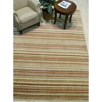 Orange/green Striped Handmade Wool Rug - 8' x 10'