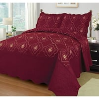 3 Pcs Polyester Bedspread Bed Cover Embroidery Coverlet Quilt Set