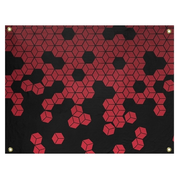 Katelyn Elizabeth Red Tumbling Cube Pattern Tapestry In/Out