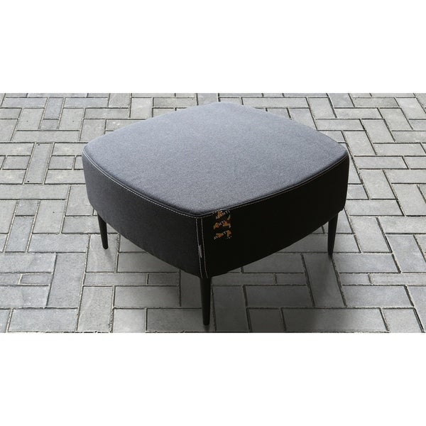Atlantic Square-Shaped Ottoman in Gray Sunbrella Upholstery