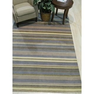 Link to Light blue/cream Striped Handmade Wool Rug - 8' x 10' Similar Items in Rustic Rugs