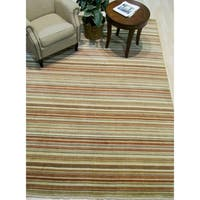 Orange/green Striped Handmade Wool Rug - 4' x 6'