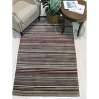 Black/Charcoal Striped Handmade Wool Rug - 4' x 6'