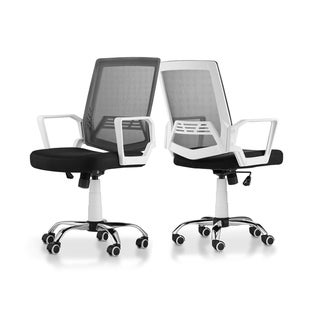 Furniture of America Dema Contemporary White Metal Swivel Office Chair