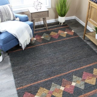 The Curated Nomad Fitzgerald Jute Charcoal/Multi Abstract Area Rug