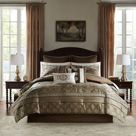 Madison Park Essentials Alexine Brown 16 Piece Jacquard Complete Bedding Set With 2 Sheet Sets
