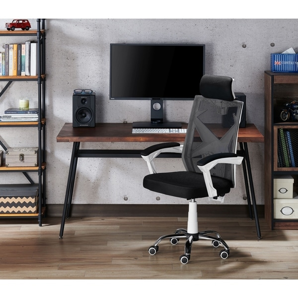 Furniture of America Gost Contemporary White Metal Swivel Office Chair