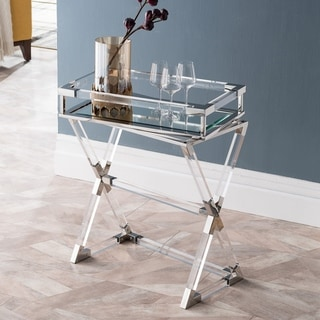 Silver Orchid Hinding Polished Nickel Acrylic Serving Tray Table