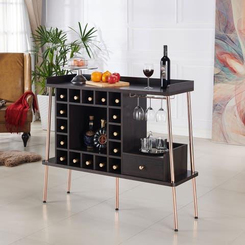 Dempsey Espresso/Rose Gold Wine Cabinet by FOA