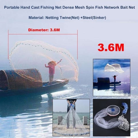 3.6M Durable Hand Cast Fishing Net Hand Throw Dense Mesh Network Bait Net
