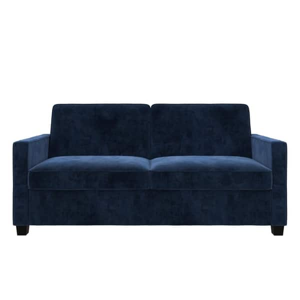 Shop Copper Grove Slavuta Blue Velvet Loveseat Full Sofa ...
