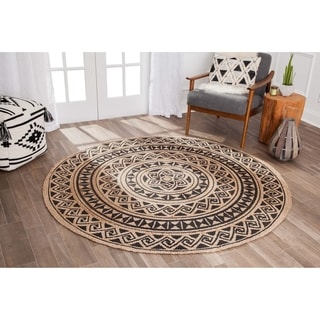 Porch & Den Anna Tribal Wave Black Jute Braided Round Area Rug