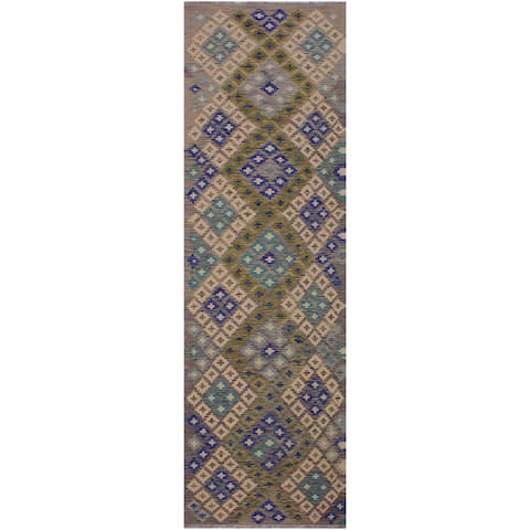 Kilim Charlett Gray/Blue Hand-Woven Wool Rug -3'0 x 10'2 - 3 ft. 0 in. X 10 ft. 2 in.