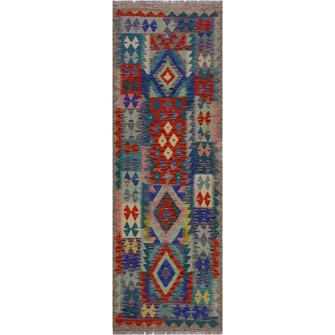 Kilim Annamae Gray/Teal Hand-Woven Wool Rug -2'9 x 6'5 - 2 ft. 9 in. X 6 ft. 5 in.
