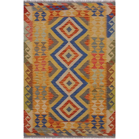 Kilim Bobbi Beige/Blue Hand-Woven Wool Rug -3'5 x 6'4 - 3 ft. 5 in. X 6 ft. 4 in. - 3 ft. 5 in. X 6 ft. 4 in.