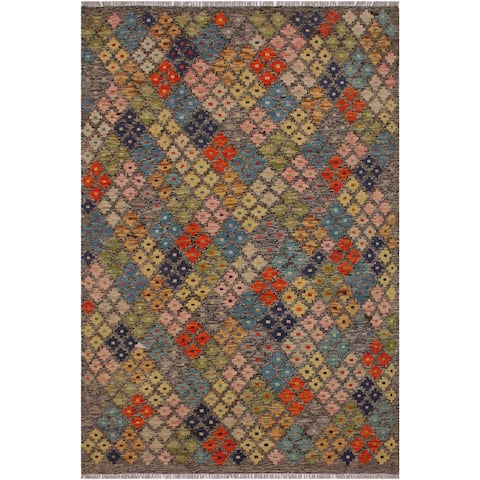 Kilim Babette Gray/Tan Hand-Woven Wool Rug -5'1 x 6'0 - 5 ft. 1 in. X 6 ft. 0 in. - 5 ft. 1 in. X 6 ft. 0 in.