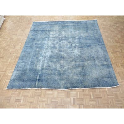 """Hand Knotted Blue Persian with Wool Oriental Rug (9'9"""" x 10'7"""") - 9'9"""" x 10'7"""""""