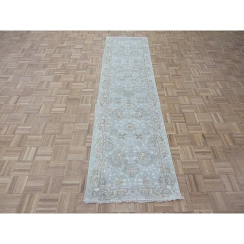 """Hand Knotted Sky Blue Fine Turkish Oushak with Wool Oriental Rug (2'6"""" x 9'8"""") - 2'6"""" x 9'8"""""""