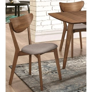 Peony Retro Modern Style Natural Walnut Dining Chairs (Set of 2)