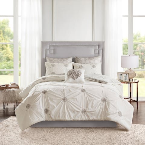 Madison Park Edna Grey/ Ivory 6 Piece Embroidered Cotton Reversible Comforter Set