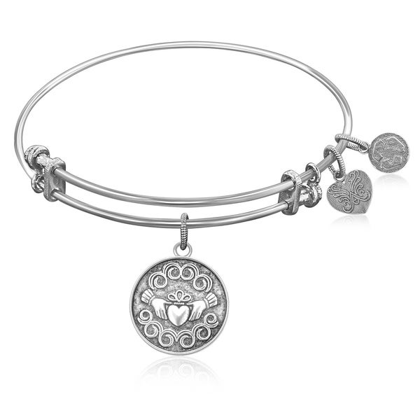 885c1891a19c7 Expandable Bangle in White Tone Brass with Claddagh Love And Friendship  Symbol