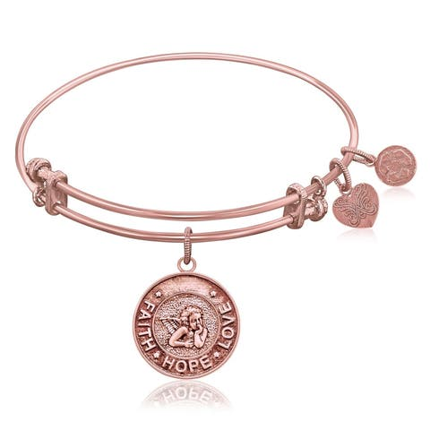 Expandable Bangle in Pink Tone Brass with Angel Symbol